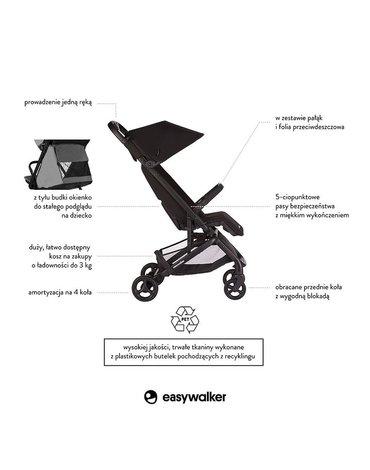 Easywalker Miley Kompaktowy wózek spacerowy ze zintegrowaną torbą transportową Night Black
