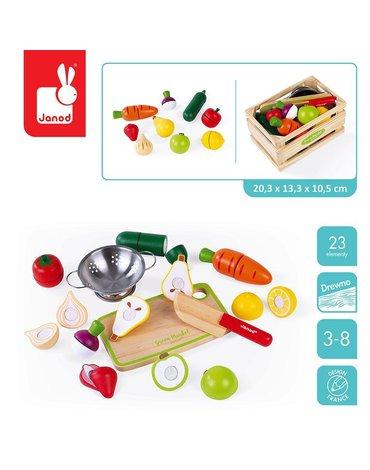 Drewniana skrzynka z warzywami i owocami do krojenia oraz akcesoriami 23 elementy, Janod