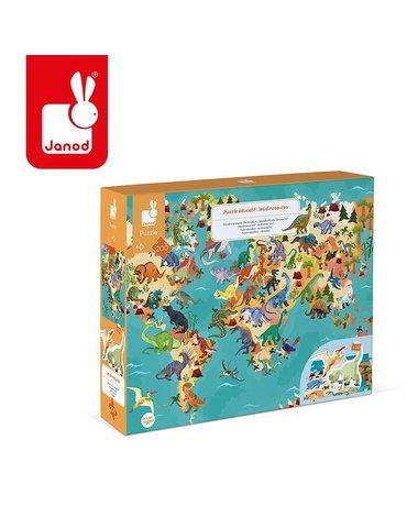 Puzzle edukacyjne z figurkami 3D Dinozaury 200 elementów 6+, Janod