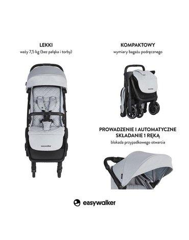 Easywalker Jackey Kompaktowy, samoskładający się wózek spacerowy z torbą transportową Pebble Grey