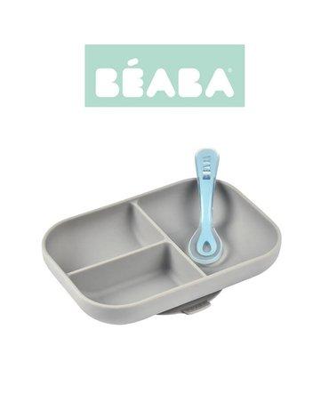 Beaba Komplet naczyń z silikonu trójdzielny talerz z przyssawką + łyżeczka grey