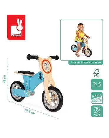 Drewniany rowerek biegowy Bikloon Little Racer 2+ lat, Janod