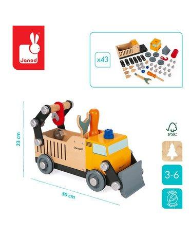 Drewniana ciężarówka budowlana do składania z narzędziami Brico'kids, Janod