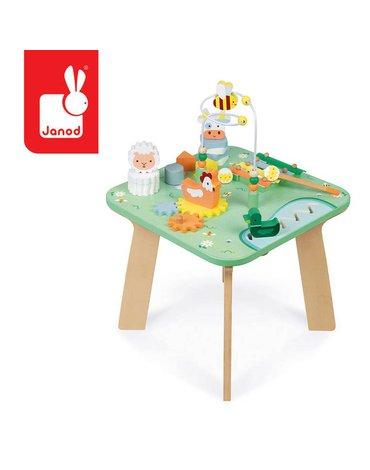 Wielofunkcyjny stolik edukacyjny drewniany Łąka 12 m+, Janod
