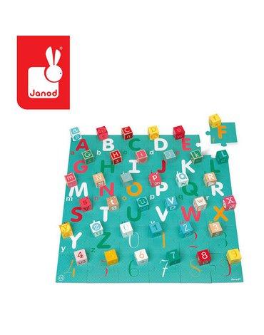 Drewniane klocki z puzzlami Kubix Litery i cyfry 40 elementów 2+, Janod