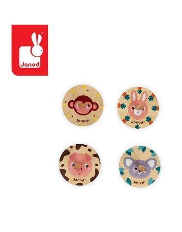 Drewniany bączek Pocket 3+, opakowanie zbiorcze 20 sztuk (4 rodzaje), Janod