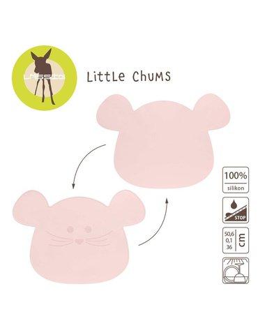Lassig Silikonowa mata podkładka Little Chums Mysz różowa