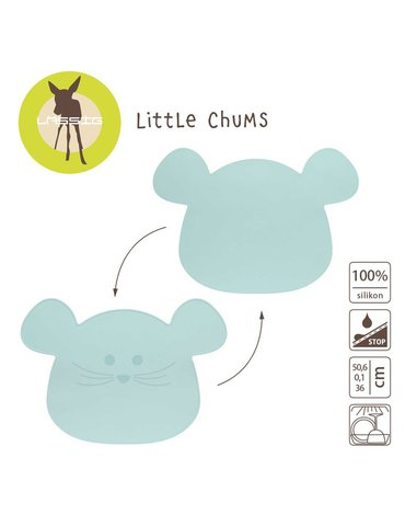 Lassig Silikonowa mata podkładka Little Chums Mysz niebieska