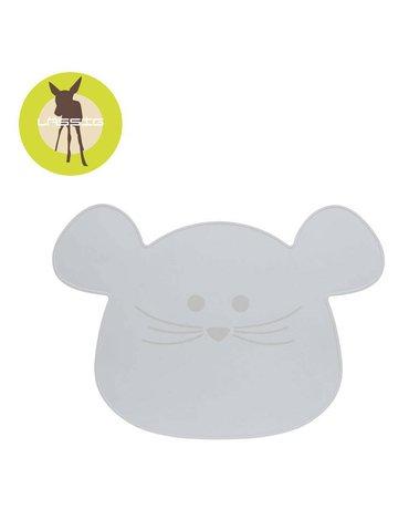 Lassig Silikonowa mata podkładka Little Chums Mysz szara