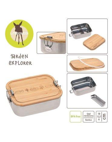 Lassig Lunchbox ze stali nierdzewnej z bambusową pokrywką Garden Explorer