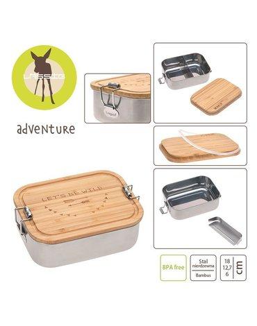 Lassig Lunchbox ze stali nierdzewnej z bambusową pokrywką Adventure
