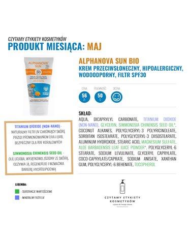 Alphanova Sun, BIO Krem przeciwsłoneczny, hipoalergiczny, wodoodporny, filtr SPF30, 50g, KARTON, 24 szt.