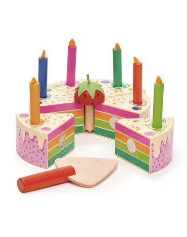 Tęczowy, drewniany tort urodzinowy, Tender Leaf Toys