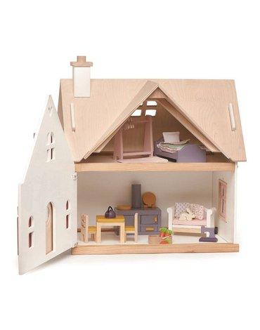 Drewniany dwupiętrowy domek dla lalek z wyposażeniem, Tender Leaf Toys
