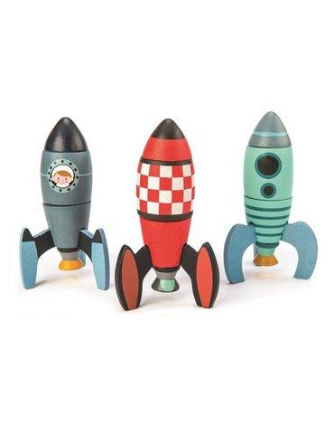 Drewniane rakiety kosmiczne, zabawka konstrukcyjna, Tender Leaf Toys