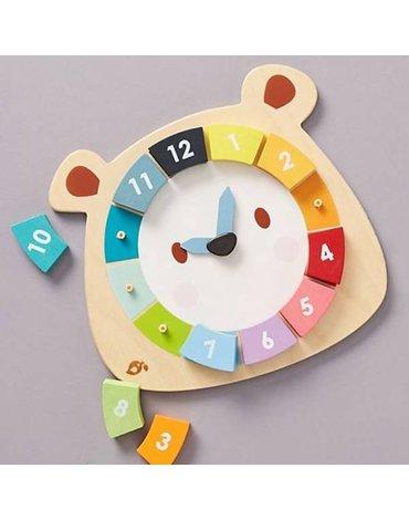 Drewniana zabawka edukacyjna - Kolorowy zegar Miś, Tender Leaf Toys