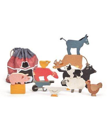 Drewniane figurki do zabawy - zwierzęta zagrodowe, Tender Leaf Toys