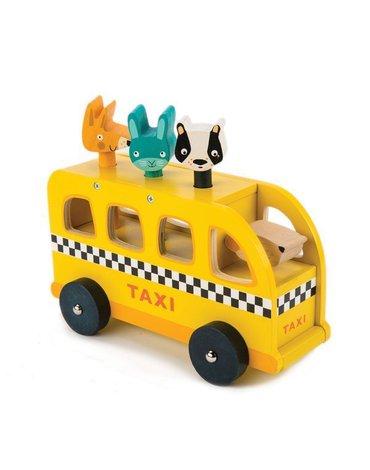 Drewniany samochód - taksówka ze zwierzątkami, Tender Leaf Toys