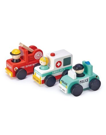 Zestaw samochodów - drewniane pojazdy ratunkowe, Tender Leaf Toys