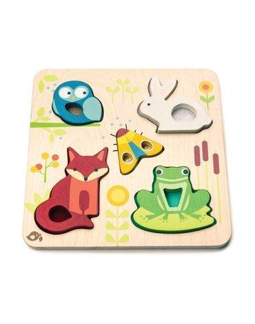 Drewniana układanka sensoryczna - Zwierzęta na łące, Tender Leaf Toys