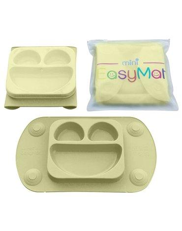 EasyTots - EasyMat Mini 2in1 OLIVE silikonowy talerzyk z podkładką - lunchbox