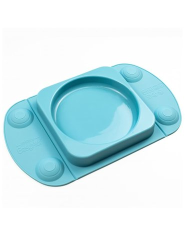 EasyTots - EasyMat Mini Max 2in1 silikonowy talerzyk z podkładką - lunchbox TEAL
