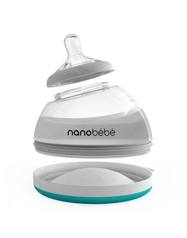 Nanobebe - Butelka do karmienia / przechowywania pokarmu 240ml ETAP 2-turkusowa