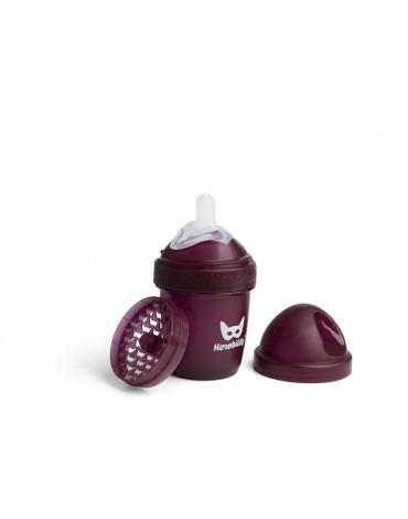 Herobility - butelka antykolkowa HeroBottle 140 ml, bordowa + smoczek S (0 m+)