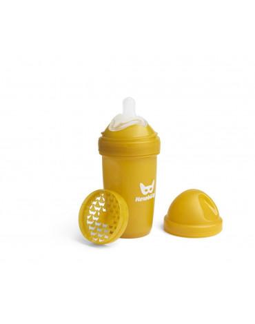 Herobility - butelka antykolkowa Herobottle 240 ml, musztardowa + smoczek M (2 m+)