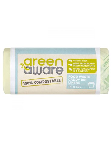 GreenAware, Kompostowalne worki na odpady spożywcze 12L, 14 szt.