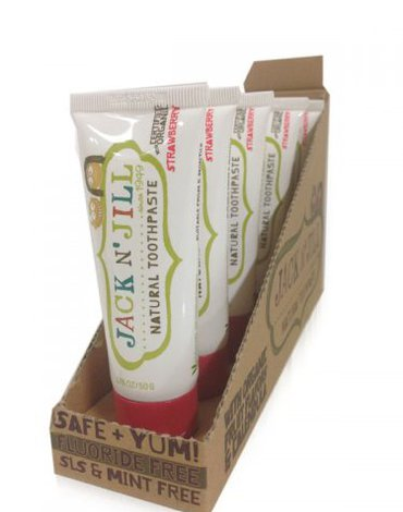 Jack N'Jill, Naturalna Pasta do zębów, organiczna truskawka i Xylitol, 50g - KARTON, 6 szt.