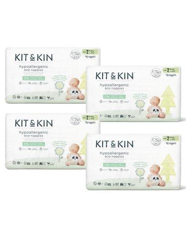 Kit and Kin, Biodegradowalne Pieluszki Jednorazowe 2 Midi (4-8kg), Myszka/Panda, 40 szt.x4 (KARTON)