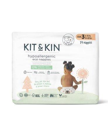 Kit and Kin, Biodegradowalne Pieluszki Jednorazowe 3 Maxi (6-10 kg), Bear/Rabbit, 34 szt.x4 (KARTON)