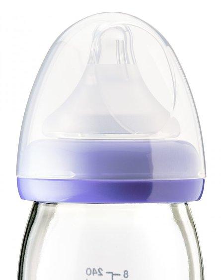 Lansinoh, Butelka szklana ze smoczkiem NaturalWave, 240 ml