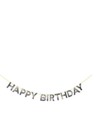 Meri Meri - Girlanda Happy Birthday Srebrna