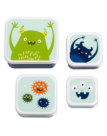 A Little Lovely Company - 4 Lśniące Lunchboxy śniadaniówki MONSTERS