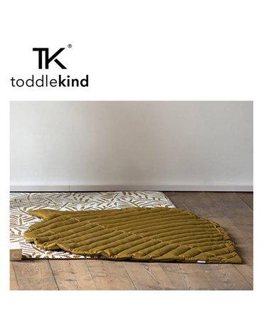 TODDLEKIND Mata do zabawy z bawełny organicznej w kształcie liścia Leaf Mat Sand Castle