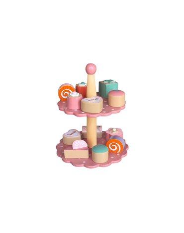 Magni - Patera z ciastkami różowa