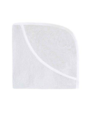 Effiki - Ręcznik z kapturkiem - Owieczka, biały z białą lamówką 70 x 70 cm
