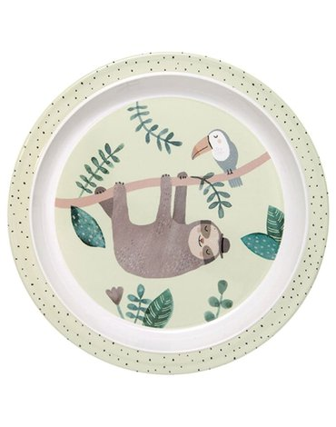 Petit Monkey - talerz płaski z rantem z melaminy Leniwiec