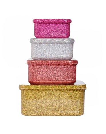 A Little Lovely Company - 4 Lśniące Lunchboxy śniadaniówki GOLD BLUSH