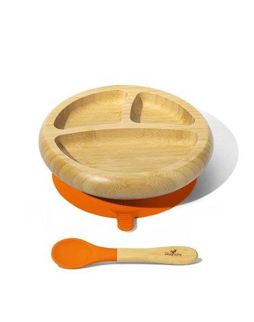 Avanchy Baby Bambusowy Talerz z Przyssawką i Przegródkami Orange