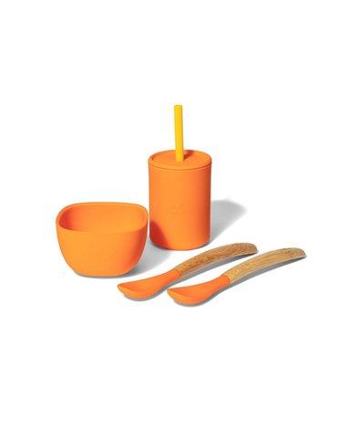 Avanchy La Petite Silikonowy Zestaw Obiadowy dla Dziecka Orange
