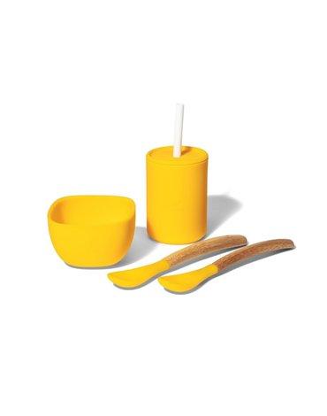 Avanchy La Petite Silikonowy Zestaw Obiadowy dla Dziecka Yellow