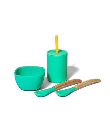 Avanchy La Petite Silikonowy Zestaw Obiadowy dla Dziecka  Green