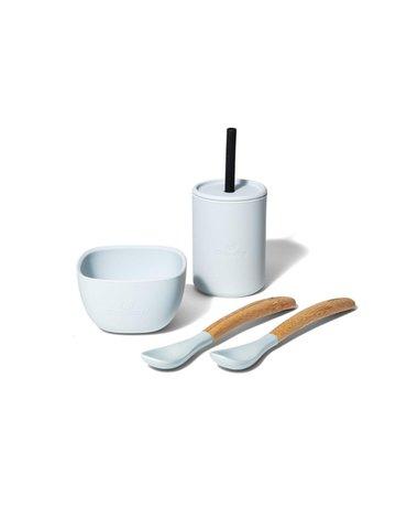 Avanchy La Petite Silikonowy Zestaw Obiadowy dla Dziecka Gray