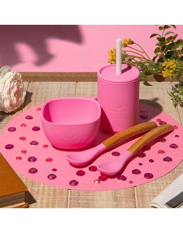 Avanchy La Petite Silikonowy Zestaw Obiadowy dla Dziecka Magenta