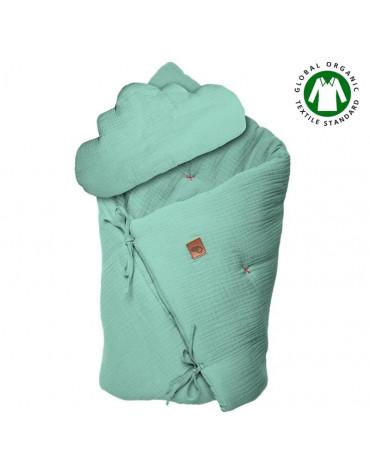 Hi Little One - Kołderka z podusią i Rożek z oddychającej bawełny organicznej GOTS QUILT BABY HORN MINT