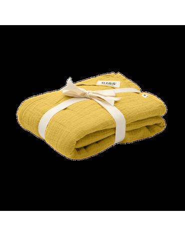 BIBS Kocyk letni 100% GOTS organic cotton 120 x 120 Mustard