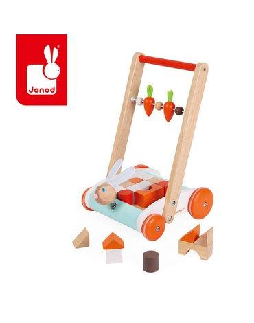 Wózek pchacz drewniany z 19 klockami Królik 1-4 lata, Janod